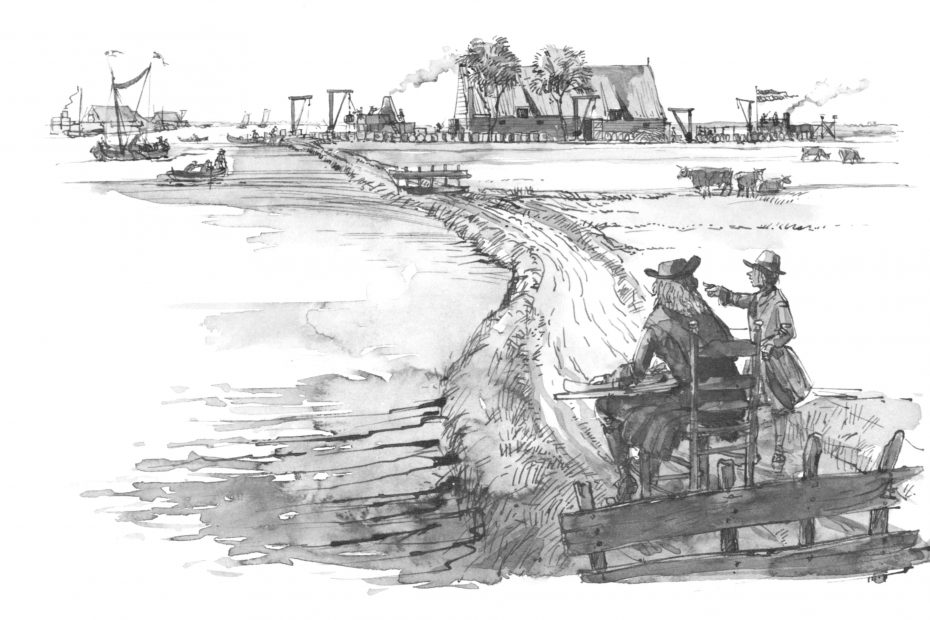Tekening van traankokerijen aan het Twiske en de Luijendijk. Naar A.Salm, 16xx