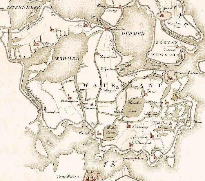 Kaart reconstructie Waterland 1288