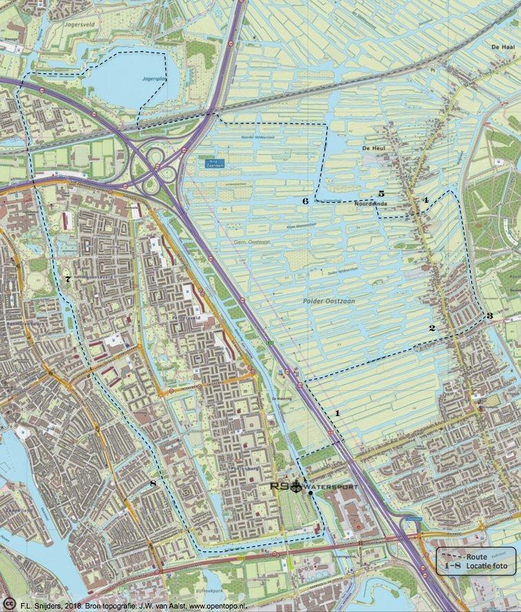 Gedetailleerde kaart van vaarroute #1: Oostzanerveld en Zaandam