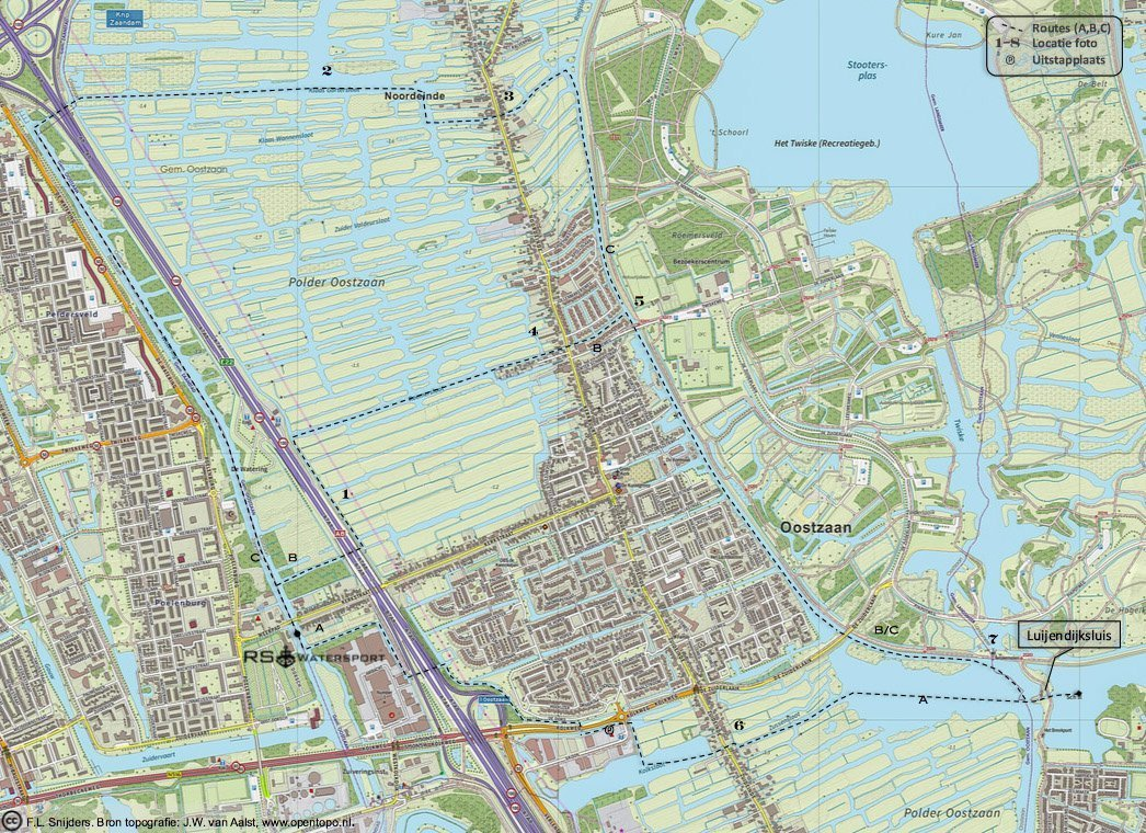 Gedetailleerde kaart van vaarroute #3: Zaandam - Luijendijksluis/Landsmeer.