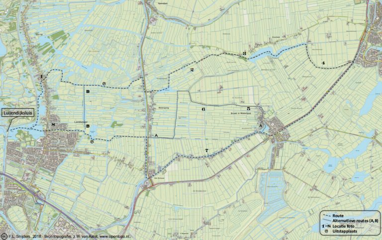 Gedetailleerde kaart van vaarroute #5: Monnikendam en Broek in Waterland