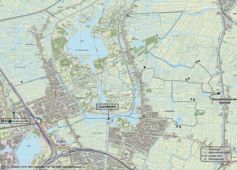 Gedetailleerde kaart van vaarroute #6: Ilperveld
