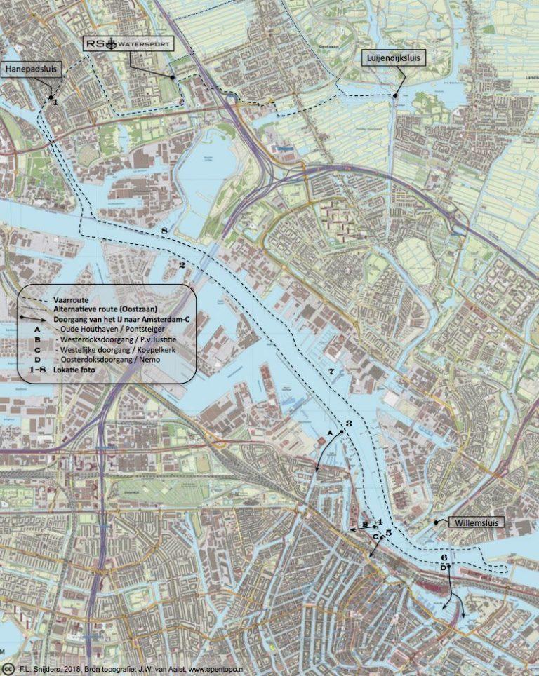 Gedetailleerde kaart van vaarroute #7: Het IJ via Zaandam en Noordzeekanaal