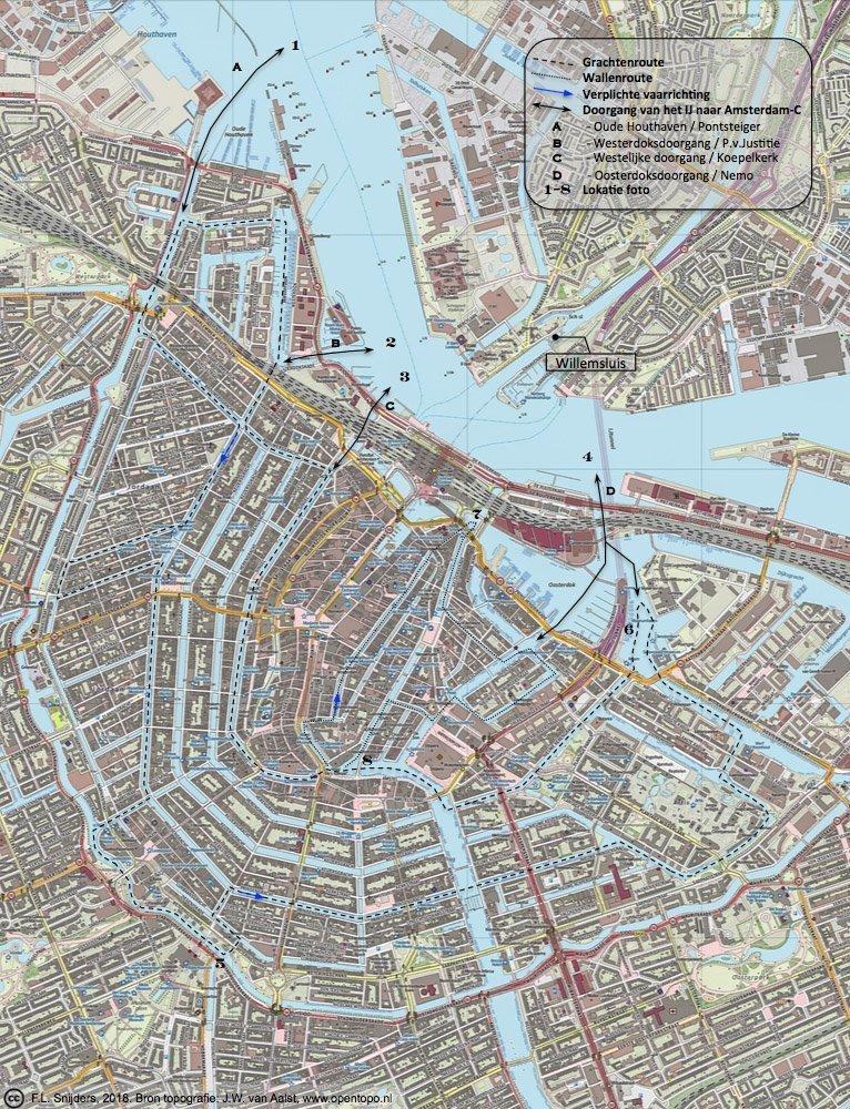 Gedetailleerde kaart van vaarroute #9: Amsterdam-Centrum