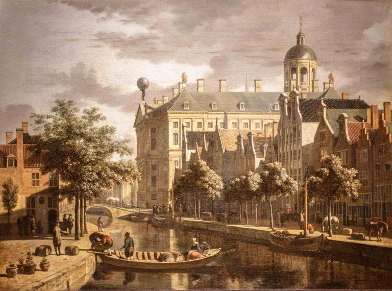 Schilderij van Stadhuis en Nieuwezijds Voorburgwal door Gerrit Berckheyde, rond 1670