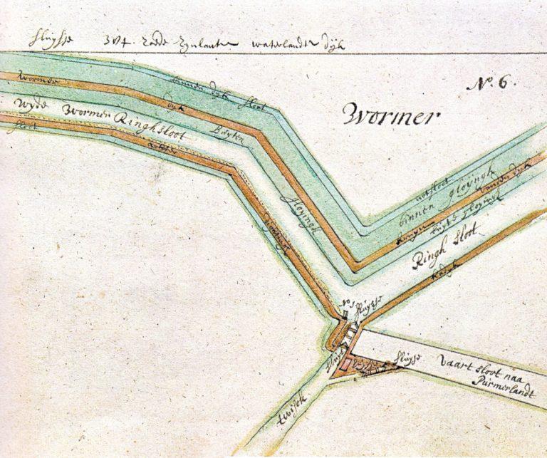Kaart van het Twiskersluisje en Suzannesluisje uit het kaartboek van Leupenius, 1693