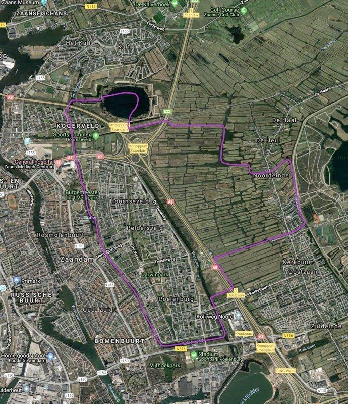 Routekaart met satellietbeeld van vaarroute #1: Oostzanerveld en Zaandam