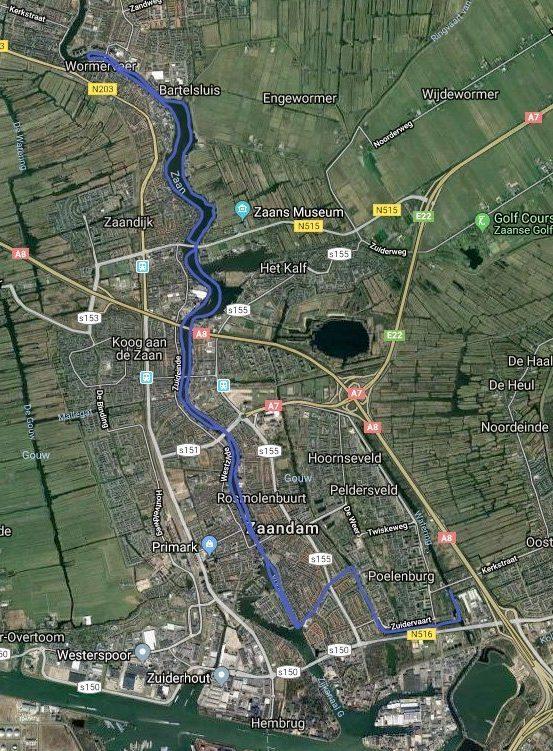 Routekaart met satellietbeeld van vaarroute #2: Zaanse Schans en Wormerveer