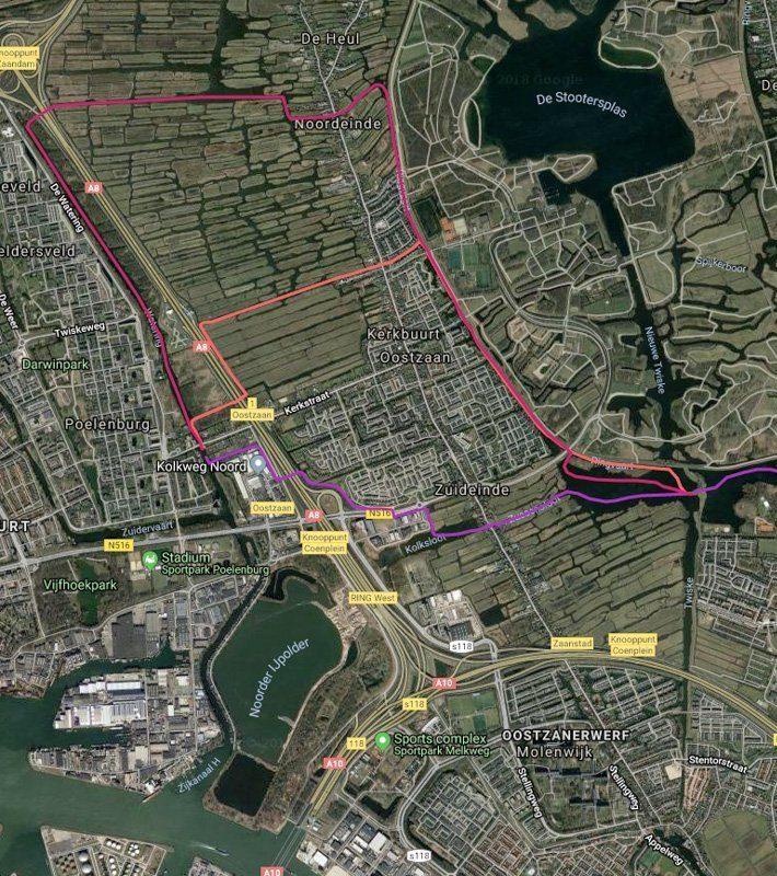 Routekaart met satellietbeeld van vaarroute #3: Zaandam - Luijendijksluis en Landsmeer
