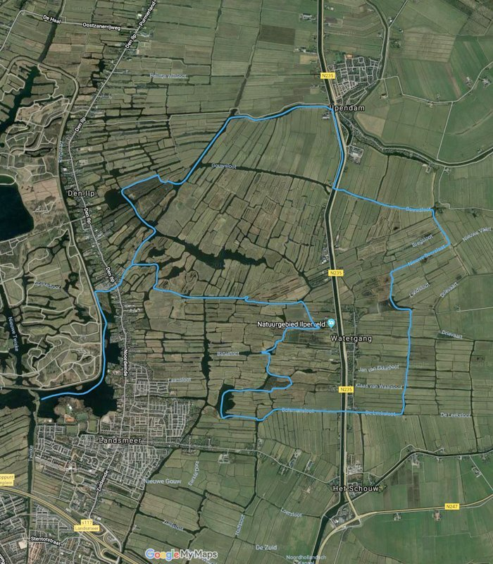 Routekaart met satellietbeeld van vaarroute #4: Ilperveld en Varkensland