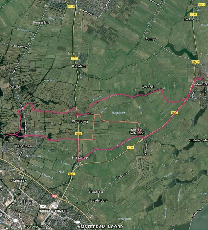 Routekaart met satellietbeeld van vaarroute #5: Monnikendam en Broek in Waterland