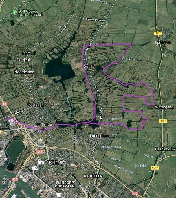 Routekaart met satellietbeeld van vaarroute #6: het Ilperveld