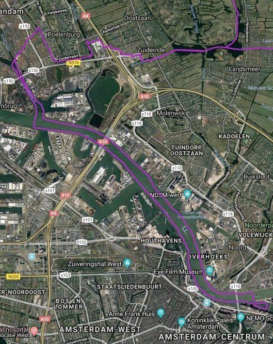 Routekaart met satellietbeeld van vaarroute #7: Het IJ via Zaandam en het Noordzeekanaal