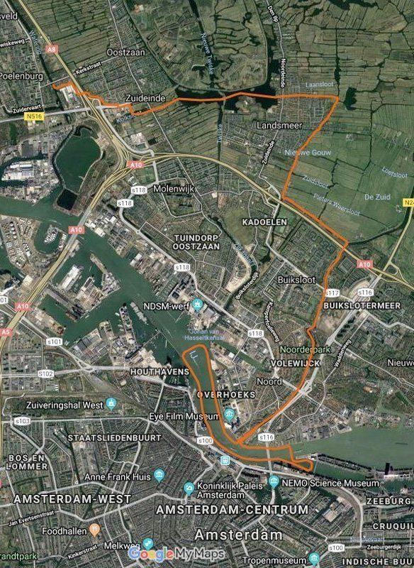 Routekaart met satellietbeeld van vaarroute #8: Het IJ via Landsmeer & Noordhollandsch Kanaal