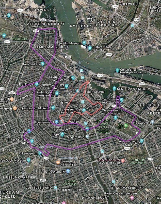 Routekaart met satellietbeeld van vaarroute #9: Amsterdam-Centrum