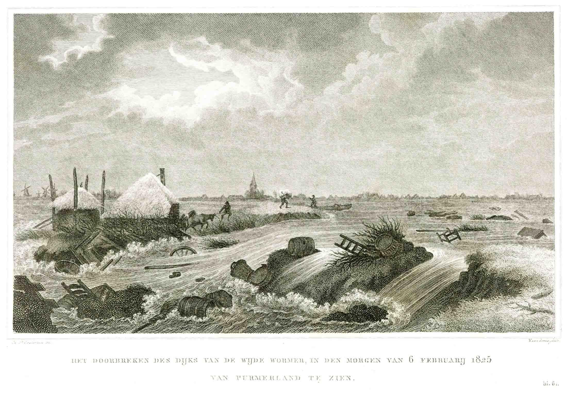 Tekening van de dijkdoorbraak van de polder de Wormer in 1825 door Willem van Senu