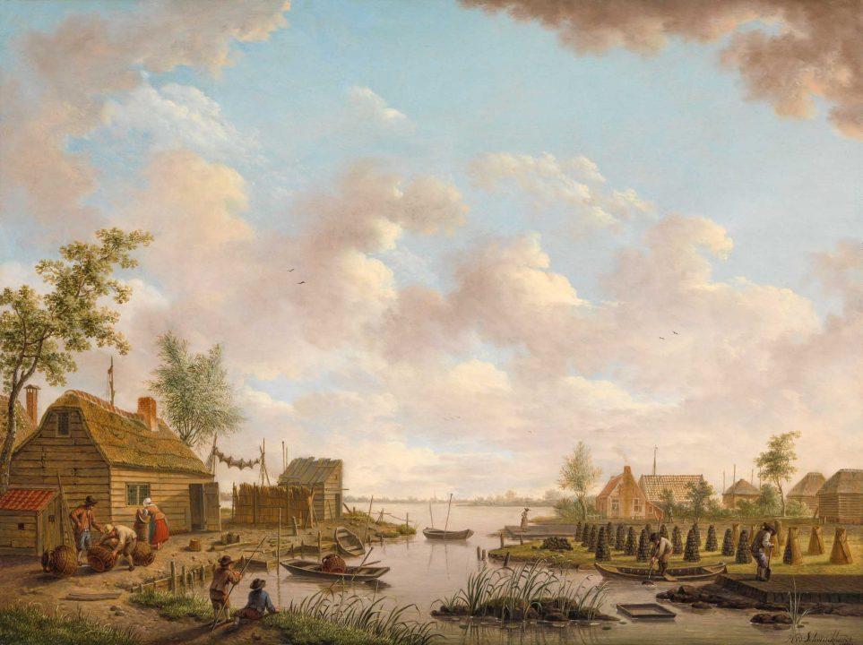 Schilderij met vissers en turfstekende boeren in het laagveen: Hendrik Willem Schweickhardt, 1747-1797.