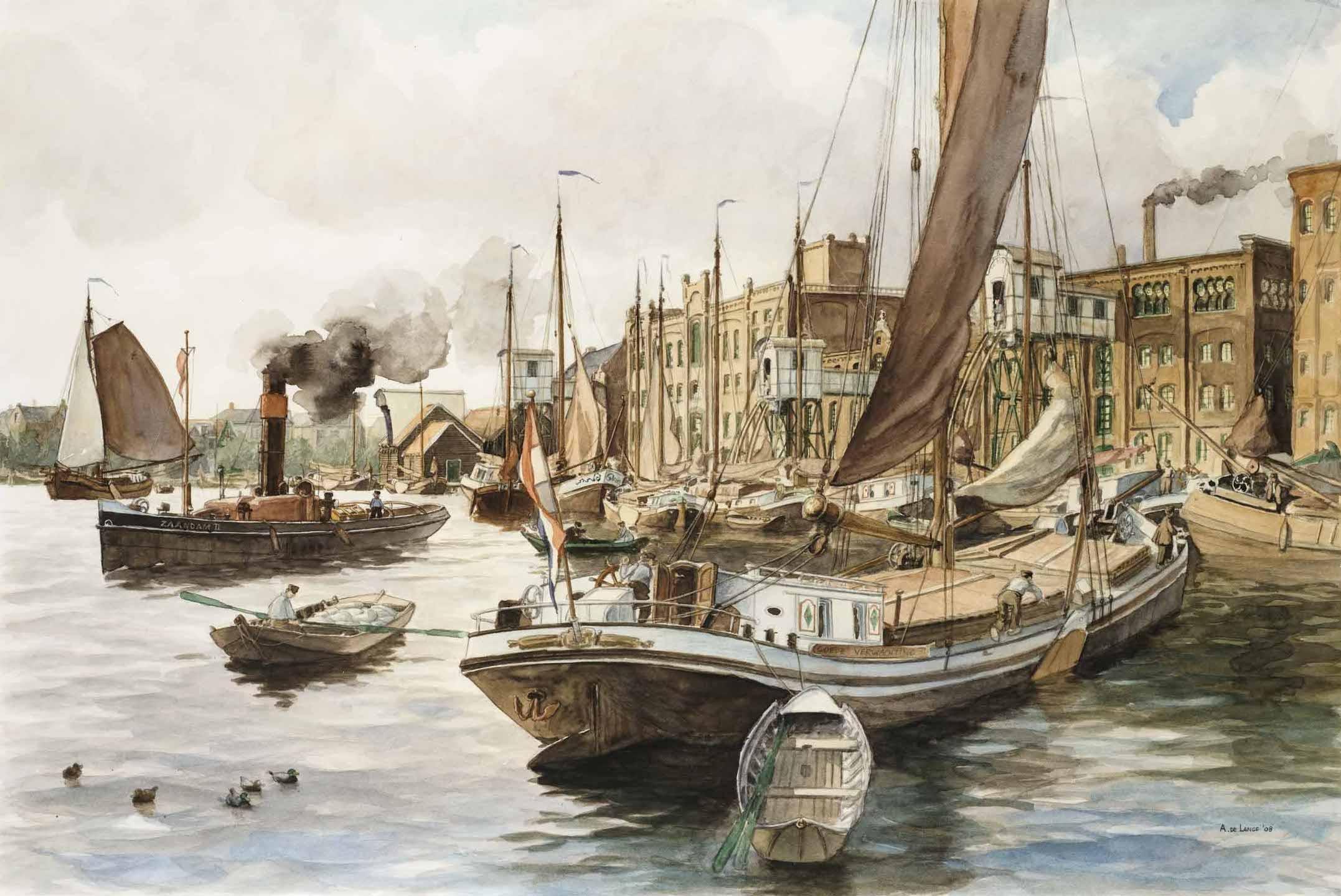 Aquarel van de Zaan rond 1910. Door Arnold de Lange