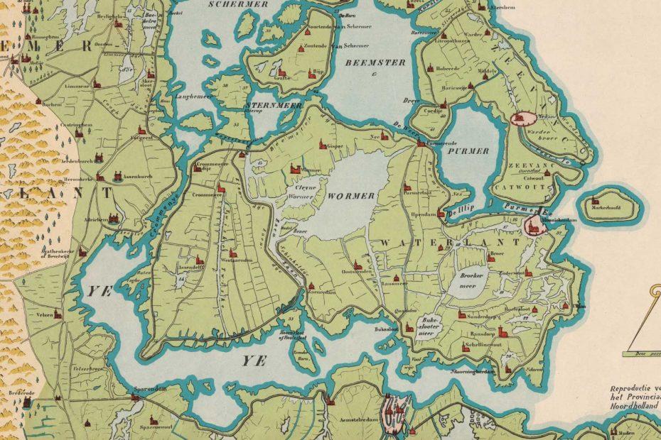 Kaart reconstructie van het Hollands Noorderkwartier in 1288