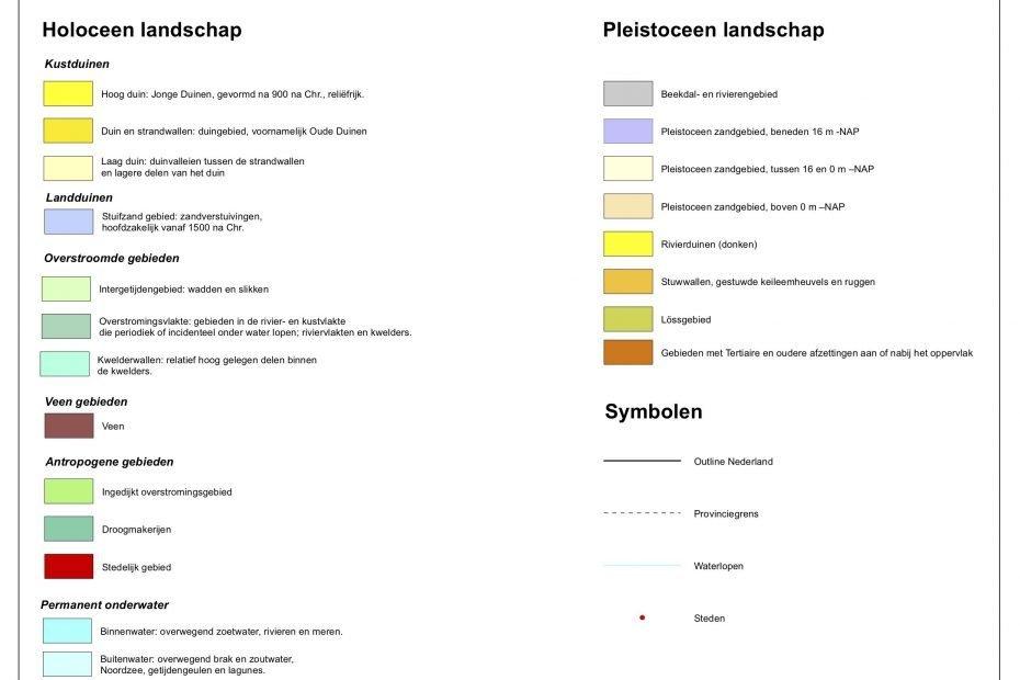 Legenda van de Paleografische Kaart van Nederland door P.Vos & S de Vries, 2013