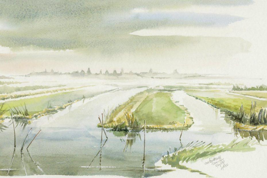 Aquarel van het Oostzijderveld, Hinne Terpstra, 1988