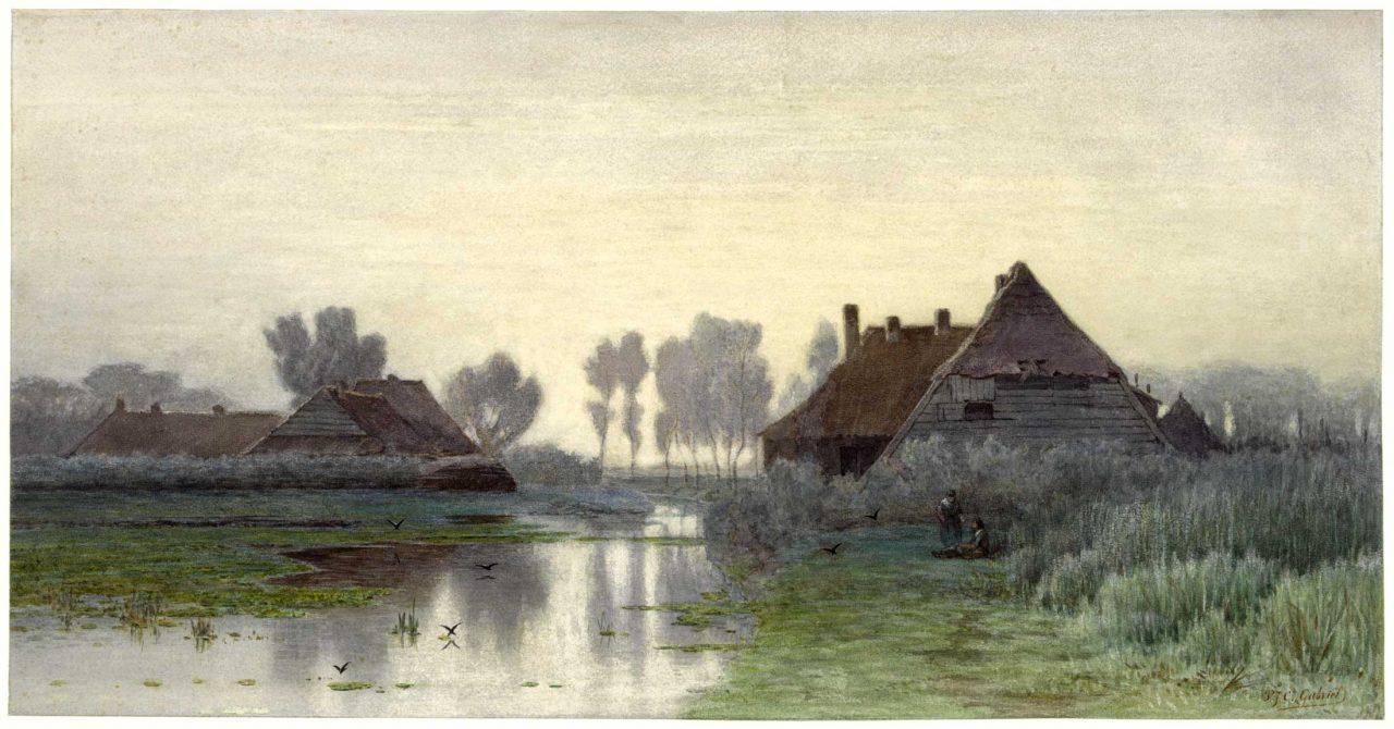 Schilderij, Boerenwoning aan het water bij ochtendnevel, Gabriel 1838-1903