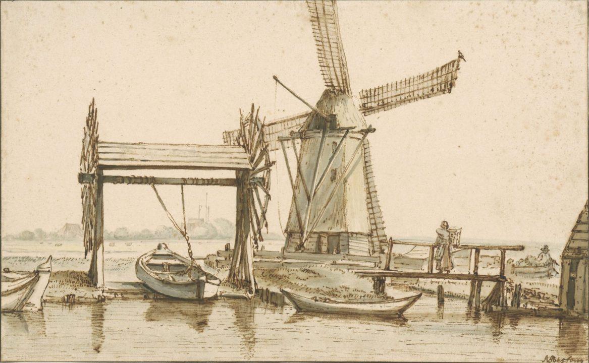 Tekening, overhaal en molen buiten Amsterdam, van Borssom 1660-1677