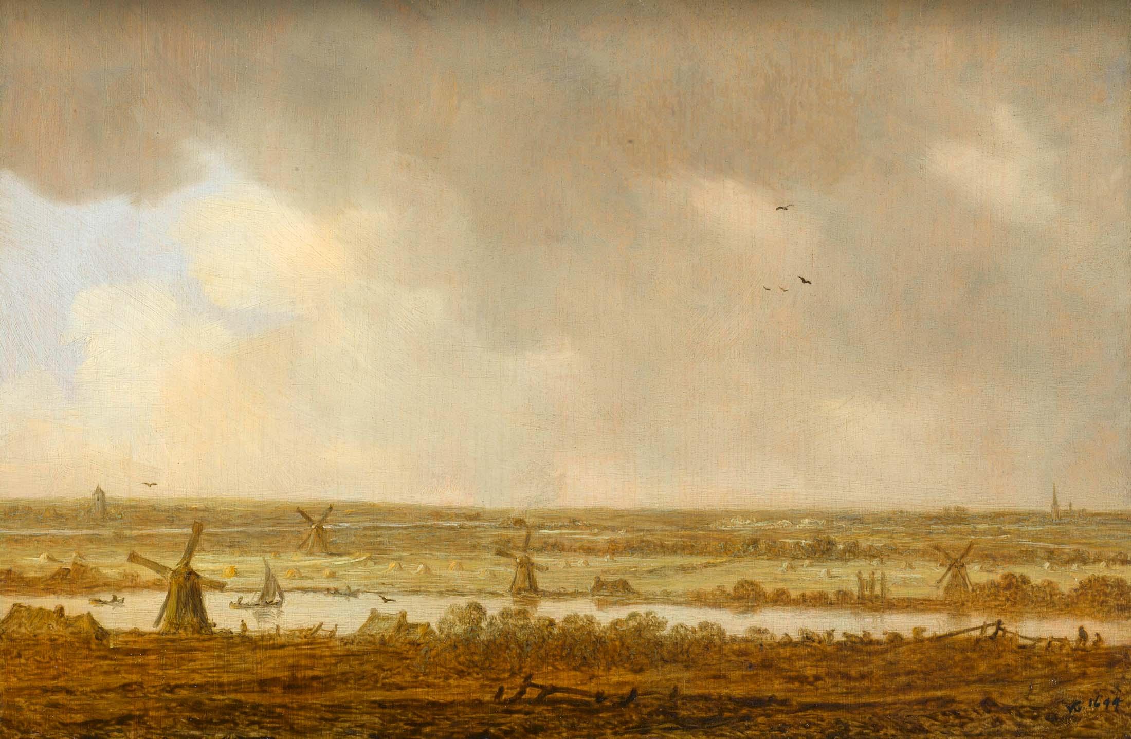 Schilderij van polder landschap met veel molens, Jan van Goyen, 1644