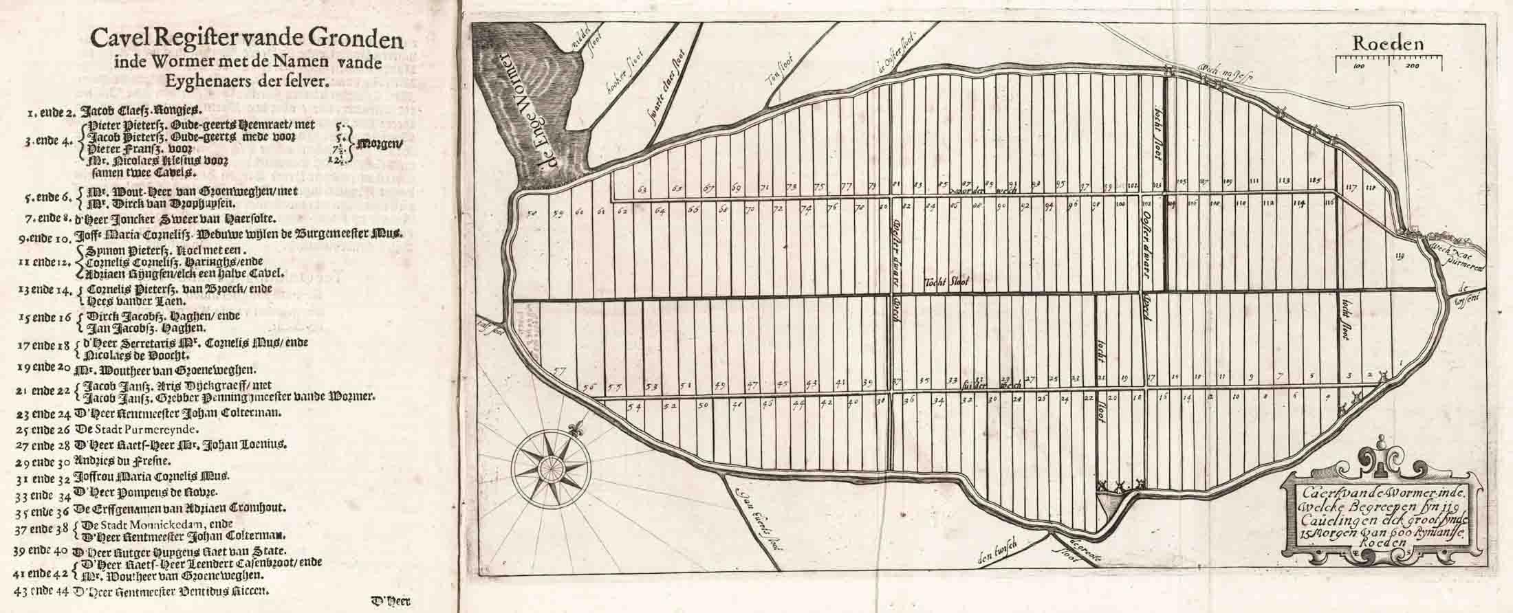 Wormer, octrooi van 1625 met lijst van kavels