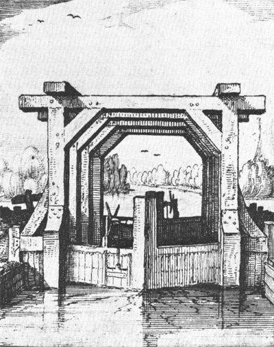 Tekening van een oude houten schutsluis