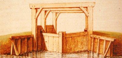 Tekening van oude houten spuisluis