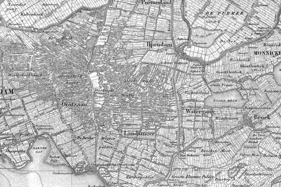 Deel topografische kaart uit 1850 met Zaandam, Oostzaan, Landsmeer en Watergang