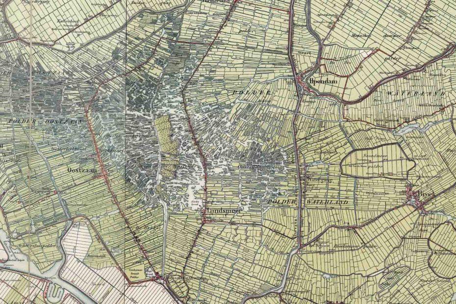 Deel topografische kaart uit 1900 met Zaandam, Oostzaan, Landsmeer en Watergang