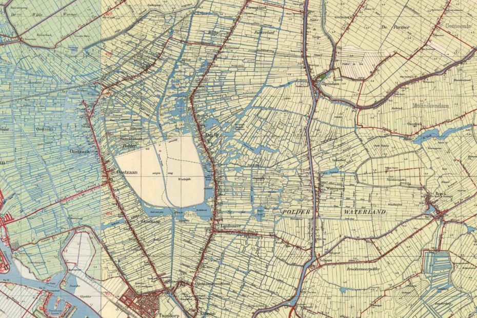 Deel topografische kaart uit 1950 met Zaandam, Oostzaan, Landsmeer en Watergang