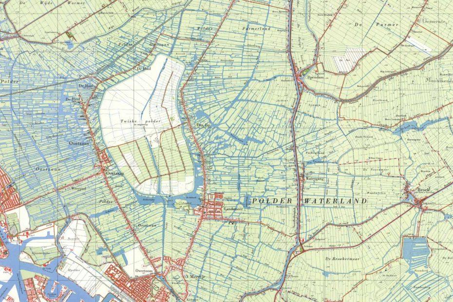 Deel topografische kaart uit 1965 met Zaandam, Oostzaan, Landsmeer en Watergang
