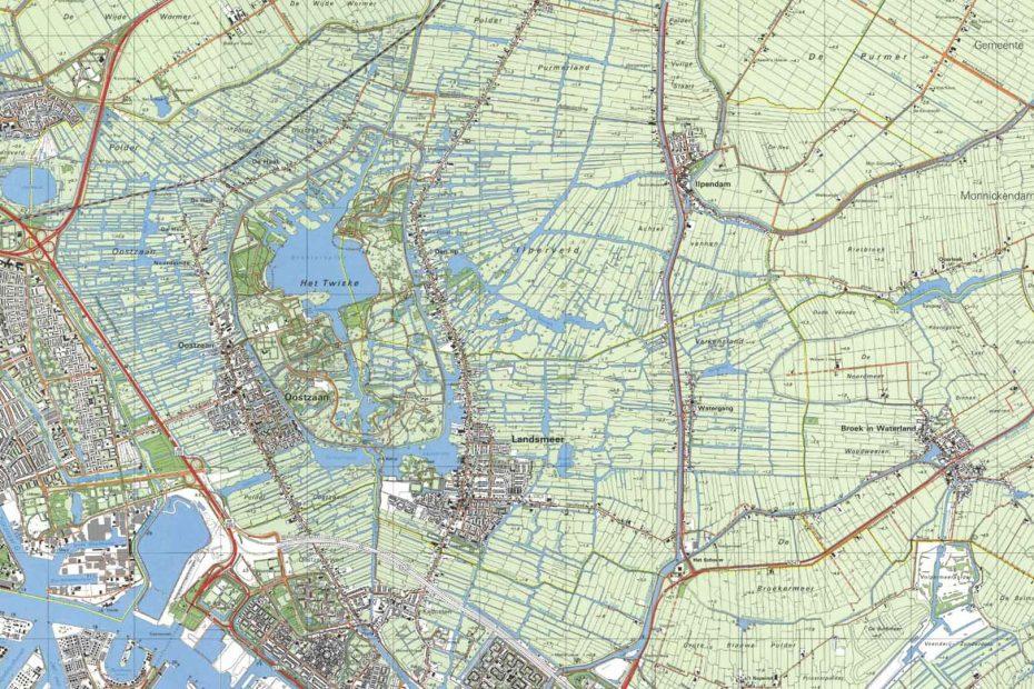 Deel topografische kaart uit 1990 met Zaandam, Oostzaan, Landsmeer en Watergang