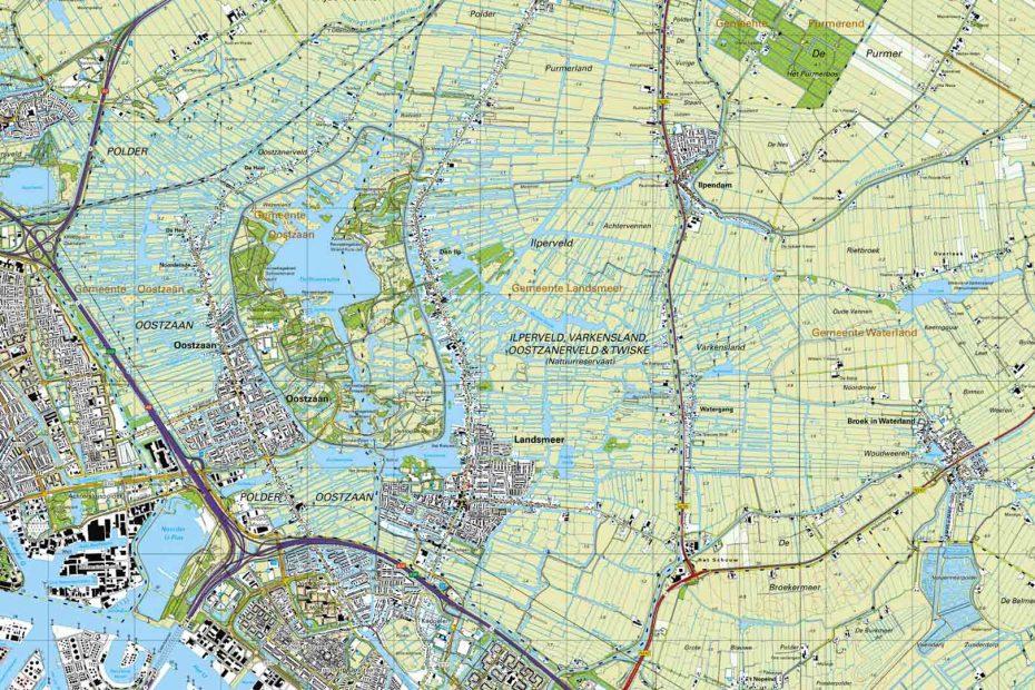 Deel topografische kaart uit 2018 met Zaandam, Oostzaan, Landsmeer en Watergang