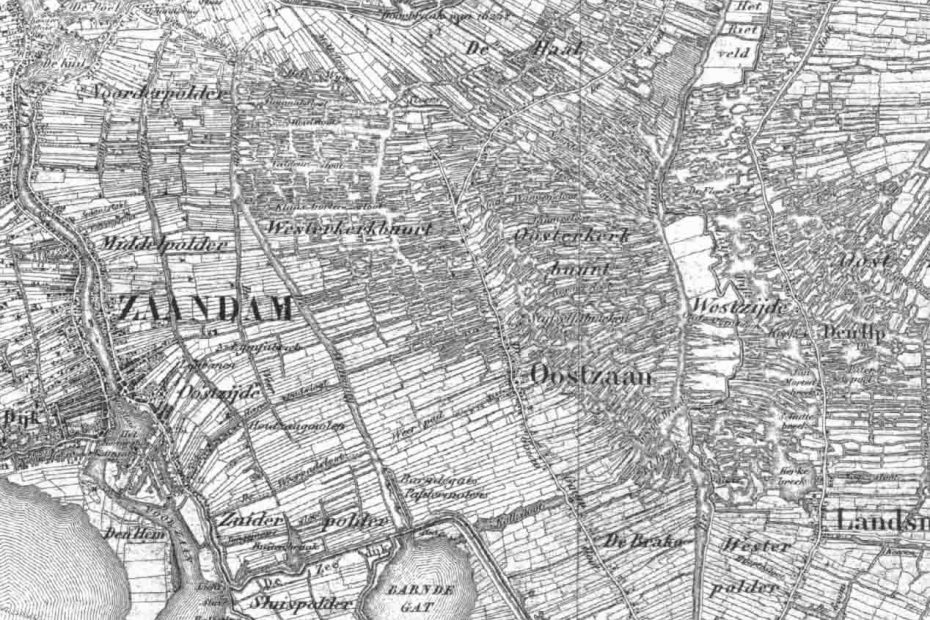 Topografische kaart Oostzaan e.o. 1850