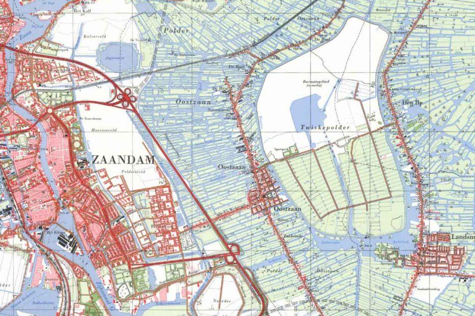 Topografische kaart Oostzaan e.o. 1975