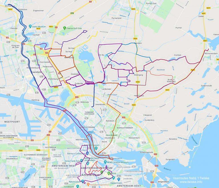 Kaart met alle vaarroutes Nabij 't Twiske