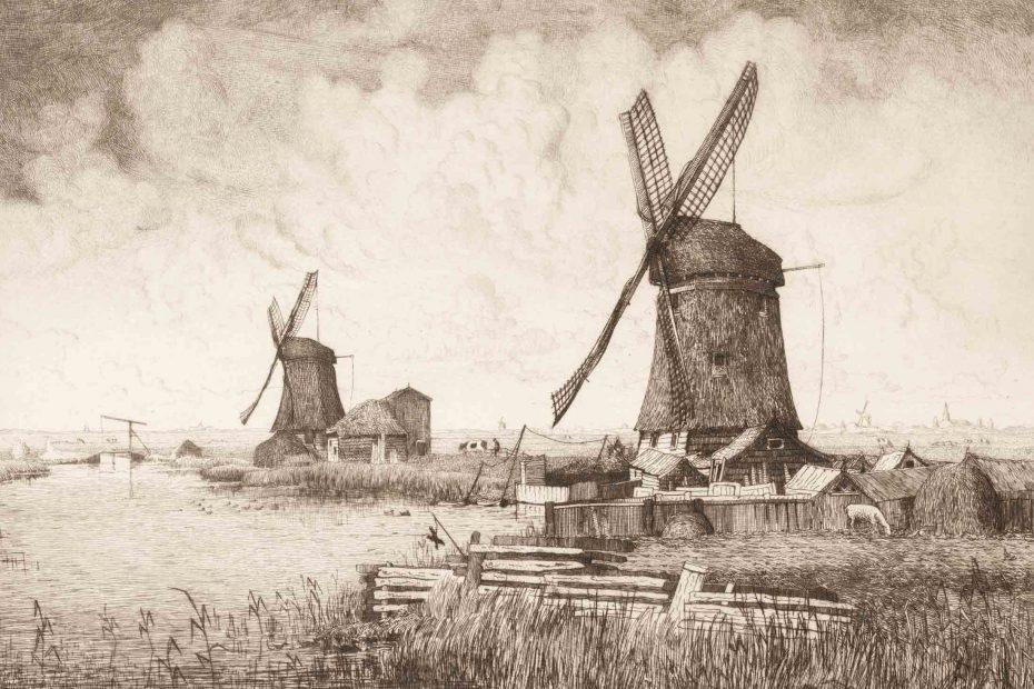 Tekening poldermolens Waker en Dromer Oostzaan/Watering door Jan Koeman