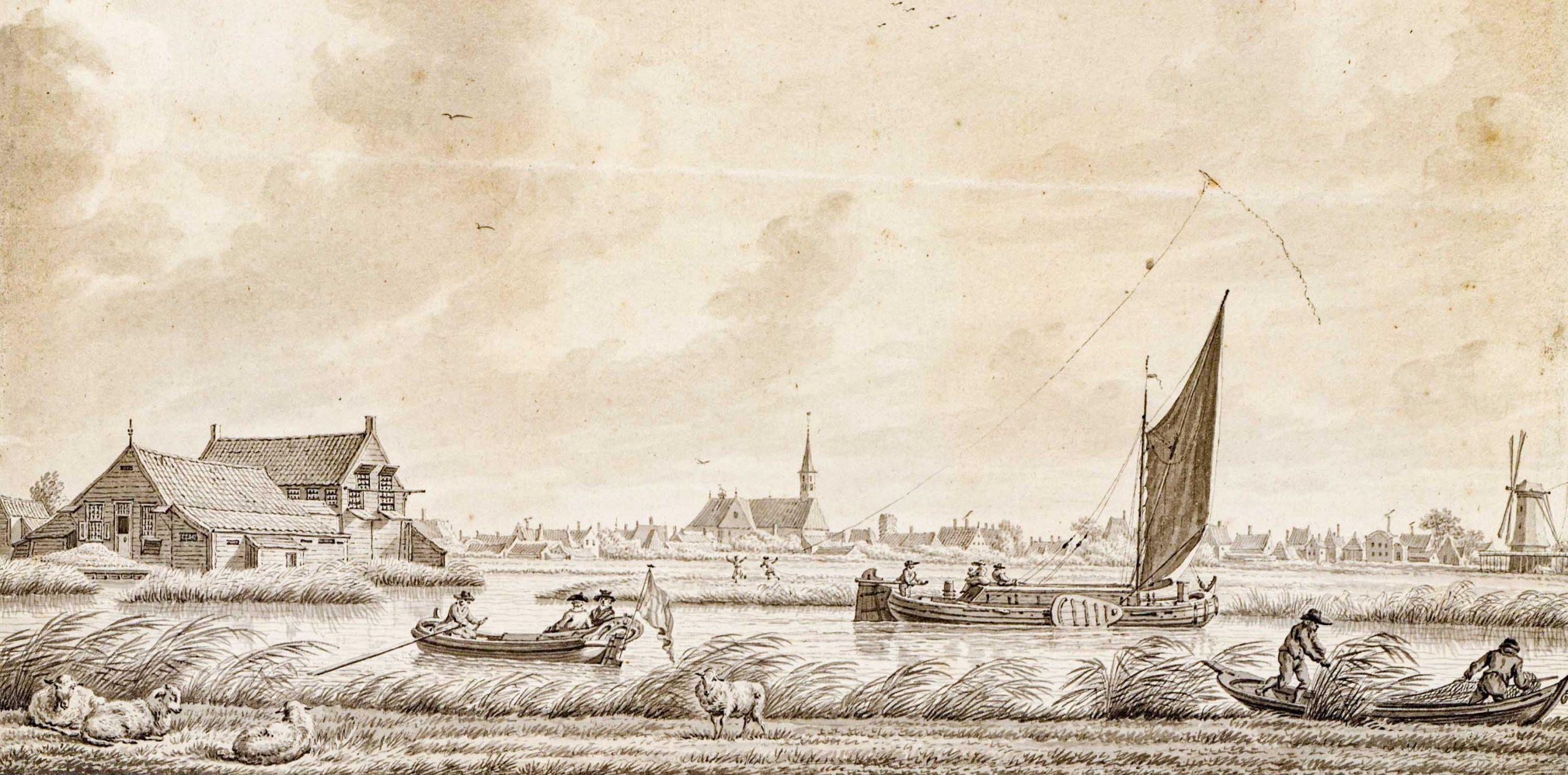 Tekening Oostzanerveld richting kerk, circa 1794