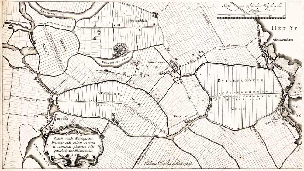 Kaart van de Drie Waterlandsche meren, 1628