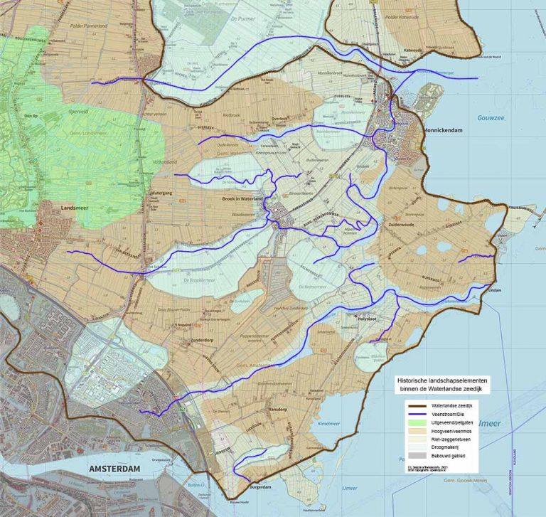 Reconstructie kaart veen en dies van Waterland. F.L.Snijders 2021
